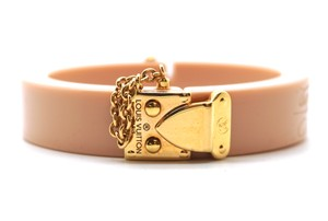 Louis Vuitton Rare LV Malle lock charm resin slide lock cuff Bracelet Bangle