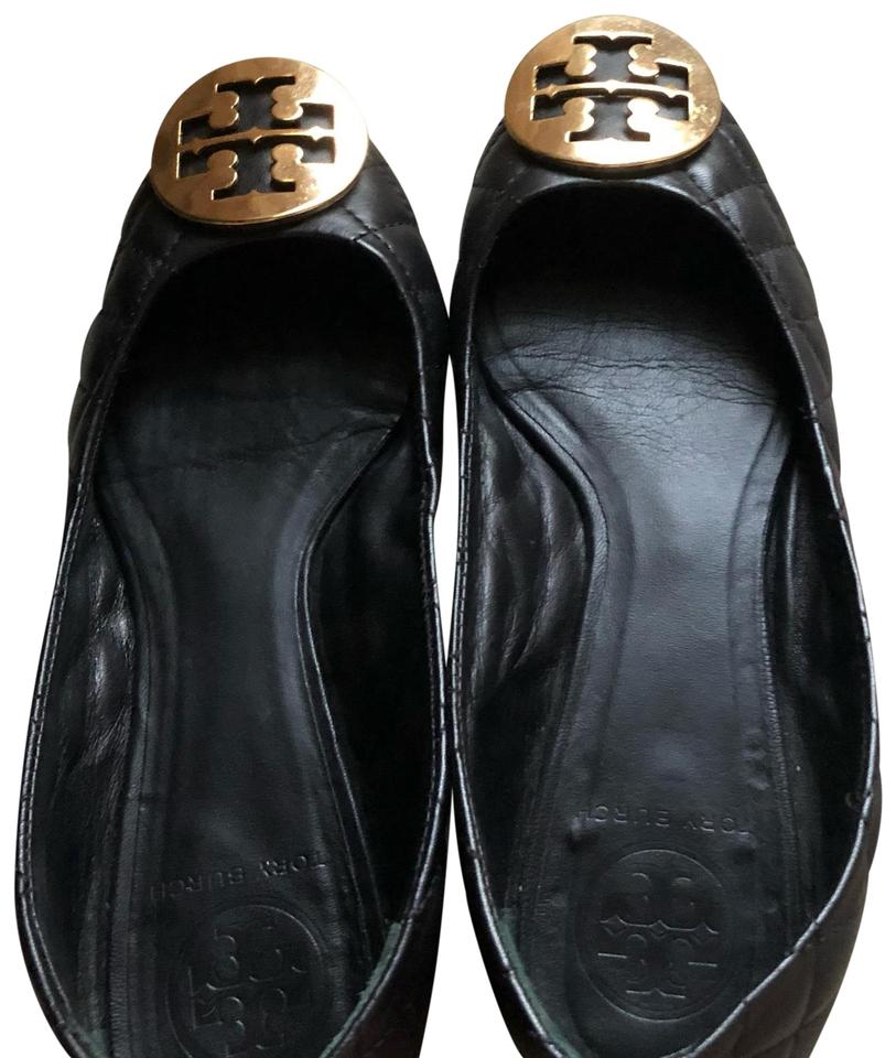 Tory Burch Black with Gold Logo Flats Reva Quilted Flats Logo 0e682f