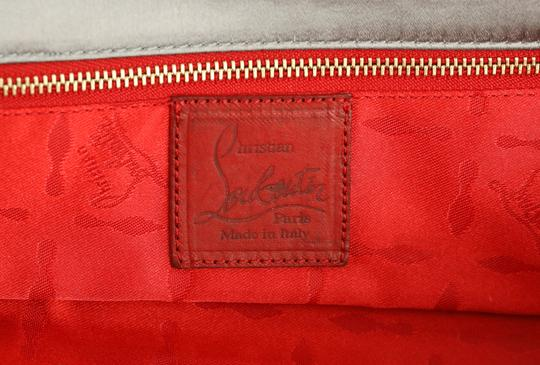 Christian Louboutin Satin Newspaper Sequin Silver Clutch Image 10