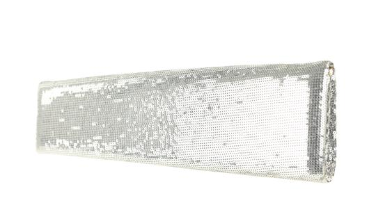 Christian Louboutin Satin Newspaper Sequin Silver Clutch Image 3