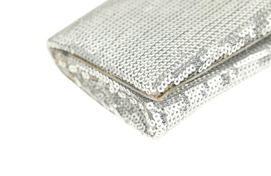 Christian Louboutin Satin Newspaper Sequin Silver Clutch Image 4