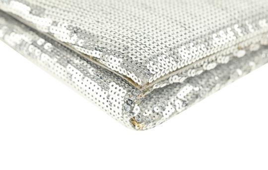 Christian Louboutin Satin Newspaper Sequin Silver Clutch Image 6