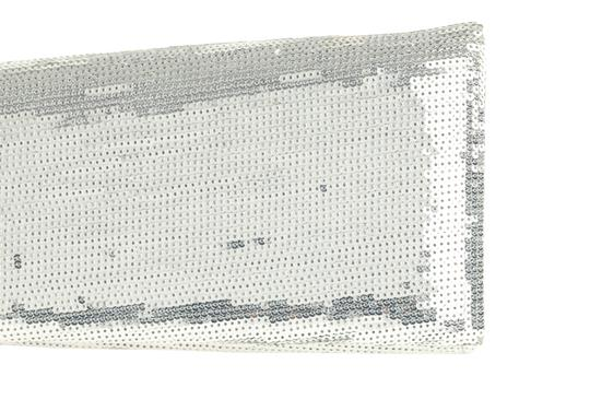 Christian Louboutin Satin Newspaper Sequin Silver Clutch Image 7