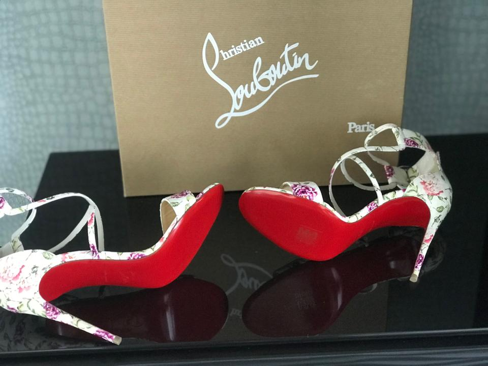 25d0d013ca Christian Louboutin White/Pink/Green Choca Floral Snake Red Sole ...
