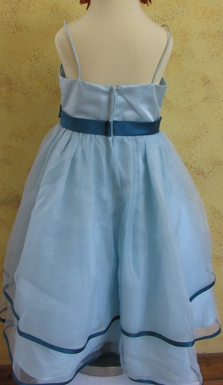 Alfred Angelo Robins Egg/Tealness Organza 6604/ A15-5 Formal Bridesmaid/Mob Dress Size 6 (S)