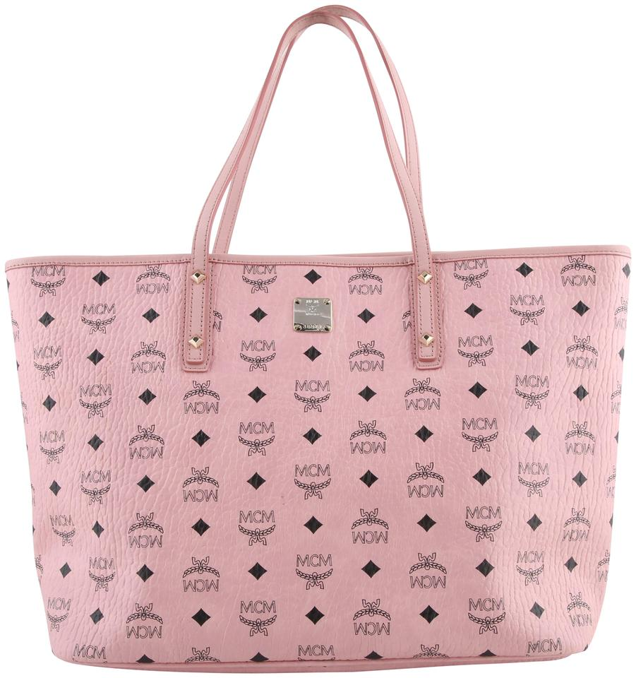Canvas Pink Tote Logo Anya Shopper Coated MCM qvXxg6