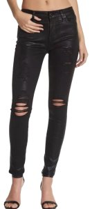 7 For All Mankind Coated Skinny Pants Black