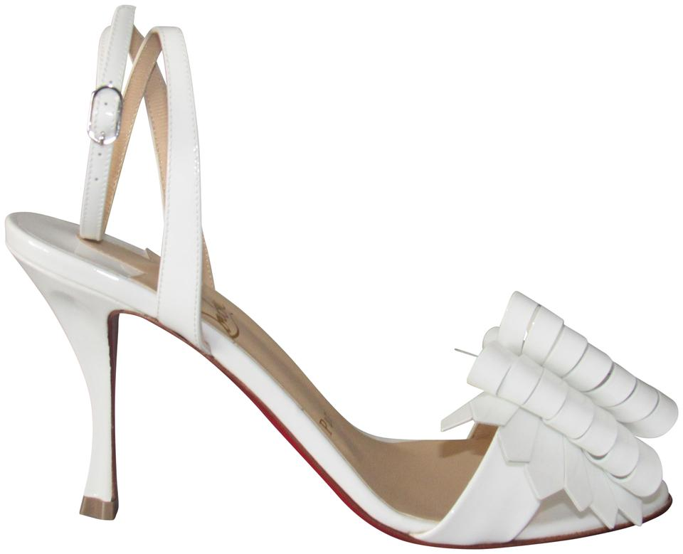 b722ae0799c Christian Louboutin Red Sole With Box Ankle Strap Sculpted Heel 85mm Latte    White Sandals Image ...