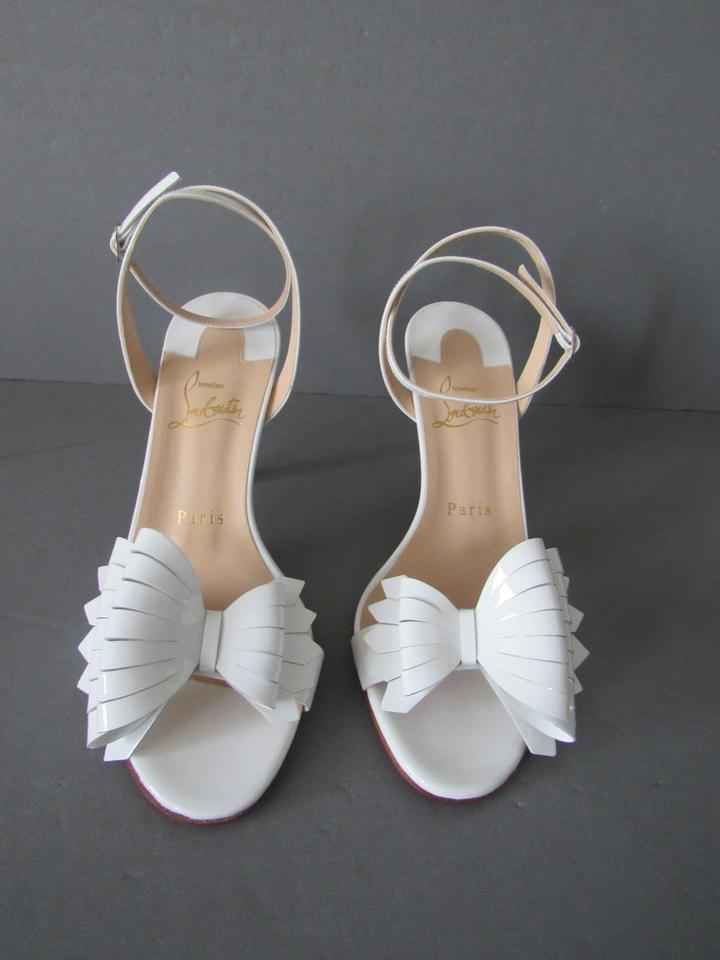 ada5ce96c01 Christian Louboutin Latte / White New Miss Valois 85 Patent Leather Bow  Sandals Size EU 40 (Approx. US 10) Regular (M, B)