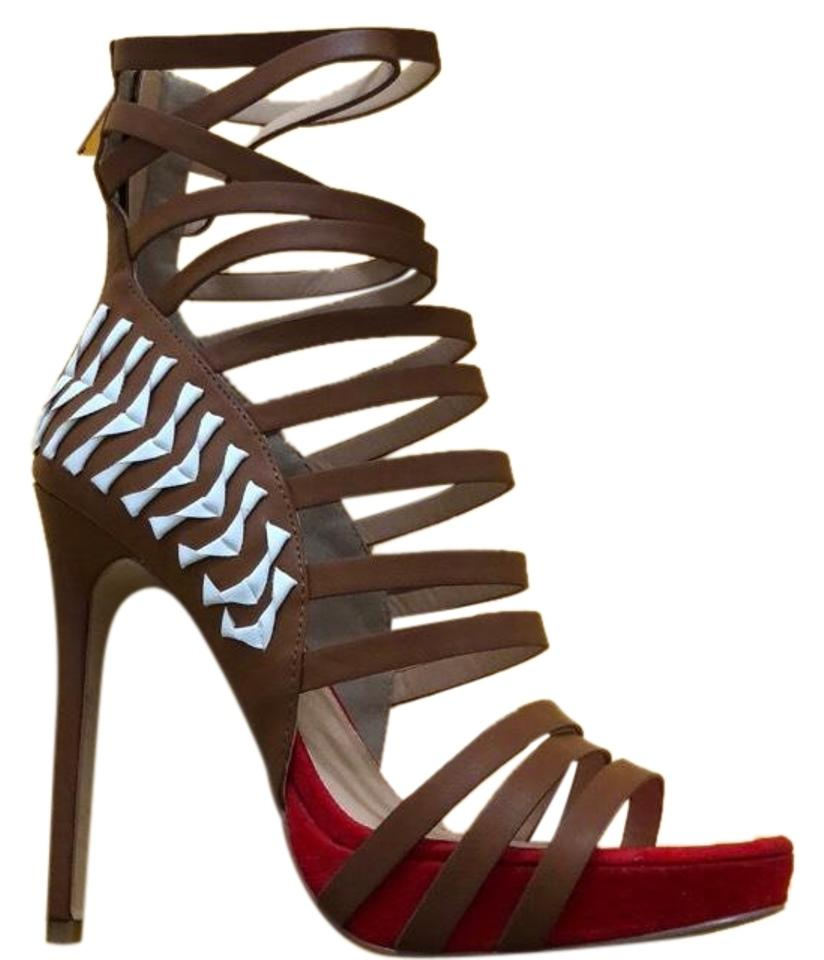 bebe Sandal Brown Red and White Sandal bebe Pumps a4c515