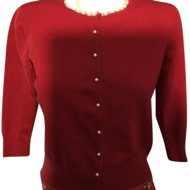 Item - Red and White Sweater Beaded Faux Pearls Cardigan Size 10 (M)