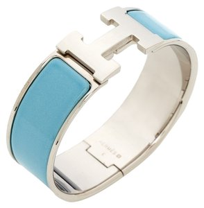 Hermes Palladium and baby blue enamel Herms Wide Clic Clac Bracelet