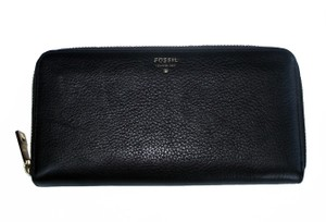 Fossil Pebbled Leather Ziparound Accordion Clutch