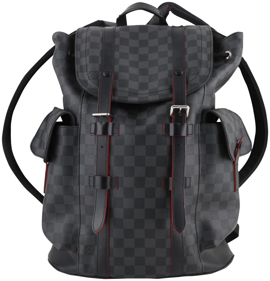 5c57c429df1 Louis Vuitton Christopher Damier Graphite Grey Black Coated Canvas Backpack