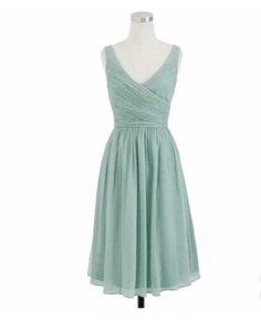 J.Crew Light Green Silk Chiffon Heidi In / Dusty Shale Modern Bridesmaid/Mob Dress Size Petite 10 (M)