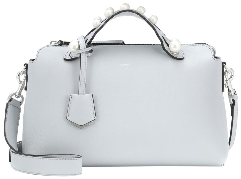 5246de27b7d Fendi By The Way Medium Pearl Embellished Light Grey Leather ...