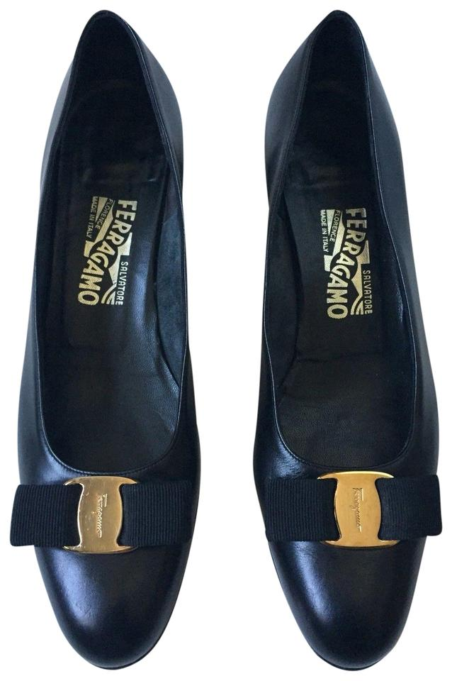 Salvatore Ferragamo Black Classic Made In Italy Shoes Leather Vara Bow Formal Shoes Italy 8185c4