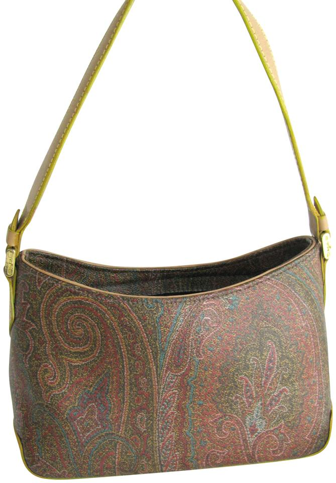 Etro Milano Paisley Purse Multicolor Brown Mix Canvas Shoulder Bag