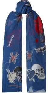 Alexander McQueen (((New))) Blue Skull-Heart Long Scarf Silk Blend Made in Italy