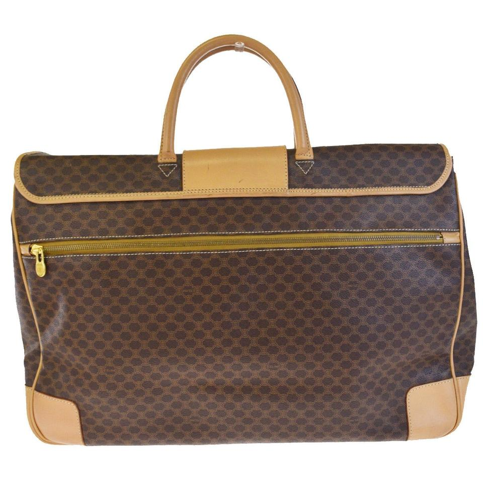 f3f1affd56 Céline Macadam Pattern Italy Brown Pvc Leather Weekend Travel Bag ...