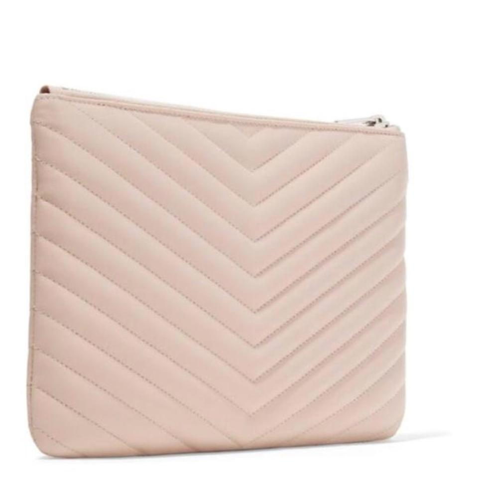 Leather Quilted Matelasse Monogram Pouch Clutch Saint Laurent BWnRxwqnI