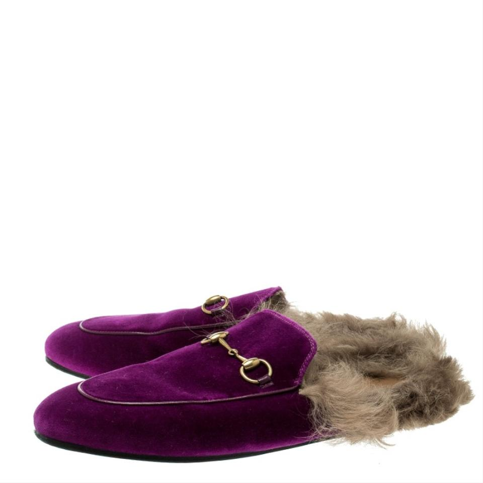 94fc67ee8e1 Gucci Purple Plush Velvet Fur Lined Princetown Mule Loafers Flats ...