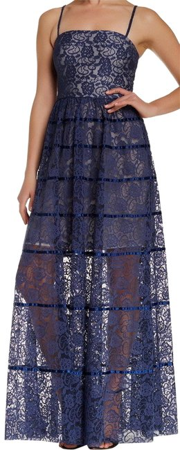 Item - Blue Floral Lace Overlay Long Cocktail Dress Size 6 (S)