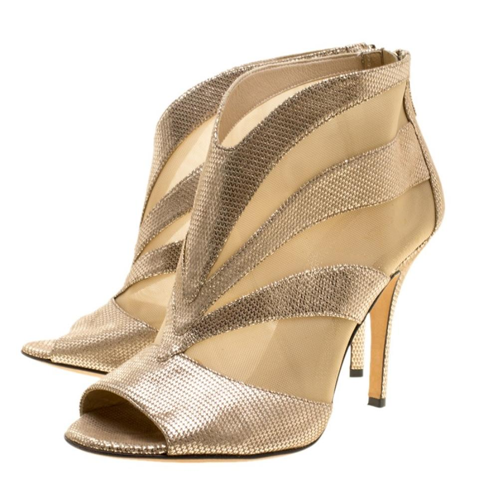 989e6ff5b3b549 Fendi Gold Metallic Suede and Mesh Peep Toe Ankle Boots Booties Size ...