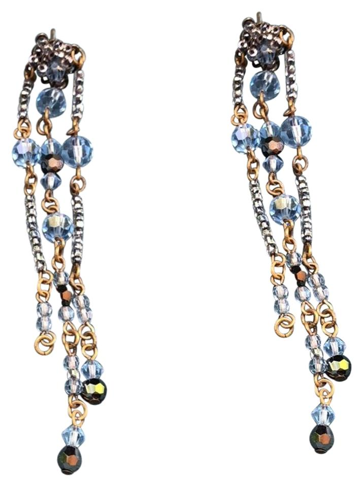 Erickson Beamon Baby Blue Swarovski Crystal Antique Drop Earrings