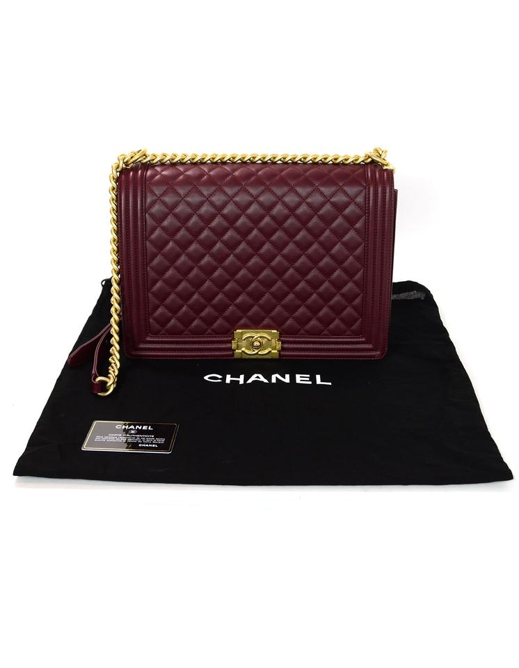 fabb056fb7fb Chanel Classic Flap Boy Quilted Large Crossbody Burgudndy Lambskin ...