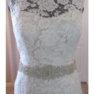 MADISON JAMES Champagne/Ivory/Silver Lace Mj14 Sexy Wedding Dress Size 10 (M)