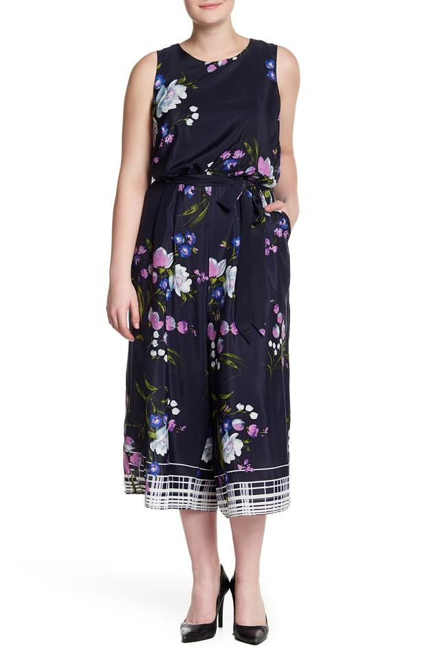 Vince Camuto Navy Multi Sleeveless Floral Print Romper/Jumpsuit 66% off  retail