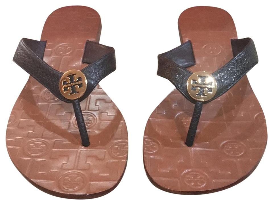5a443566afb1 Tory Burch Black Gold New In Box Thora Tumbled Sandals Size US 8.5 ...