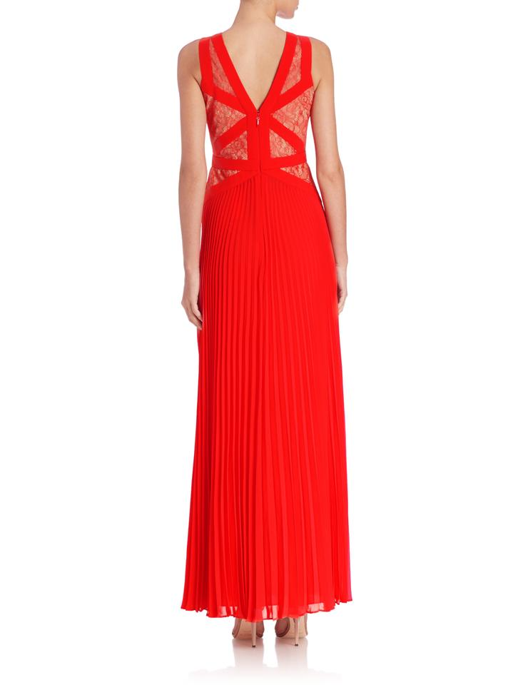 BCBGMAXAZRIA Red Evonne Lace Blocked Pleated Gown Long Formal Dress ...
