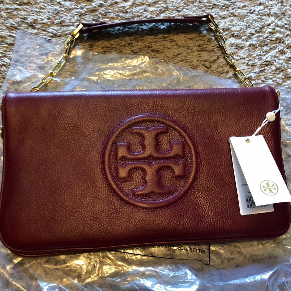 Leather Burch Maroon Clutch Bombe Tory wP8tqxd