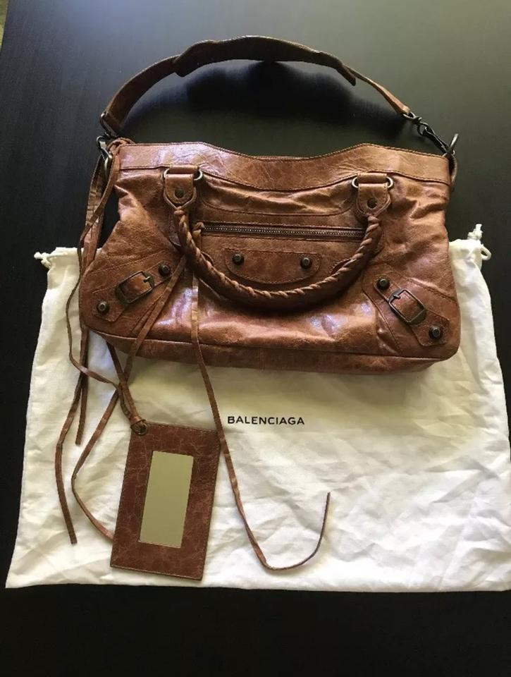 Leather Classic Bag First Shoulder Brown Balenciaga Tote nPvgO4BB