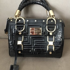 Versace Embossed Leather Patent Leather Braided Handles Logo Placard Gianni Satchel in Black
