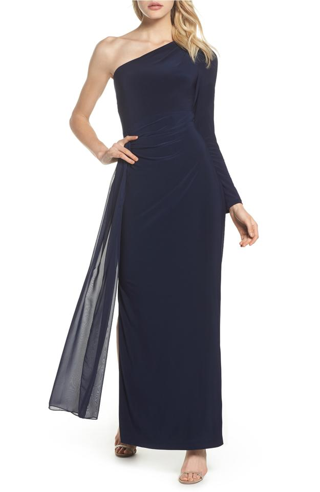 Vince Camuto Navy Chiffon Overlay One-shoulder Gown Long Formal ...