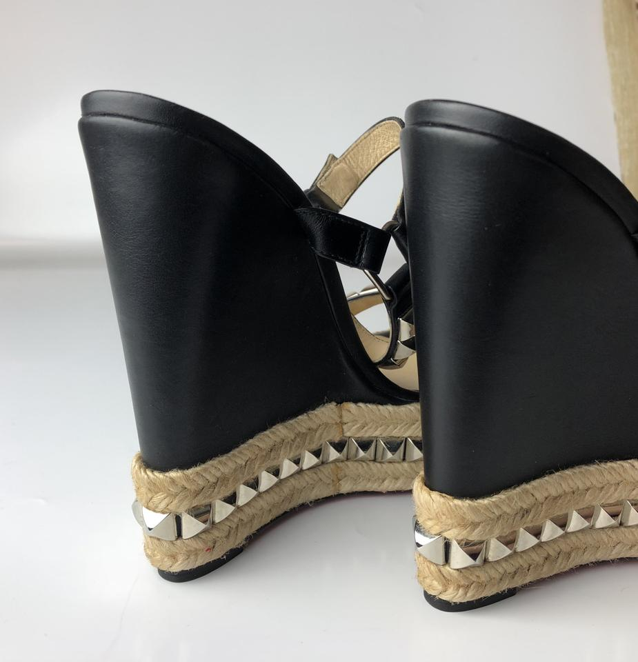 Espadrille Black 140 Louboutin Wedges Leather Christian Studded Cataclou PY4W7