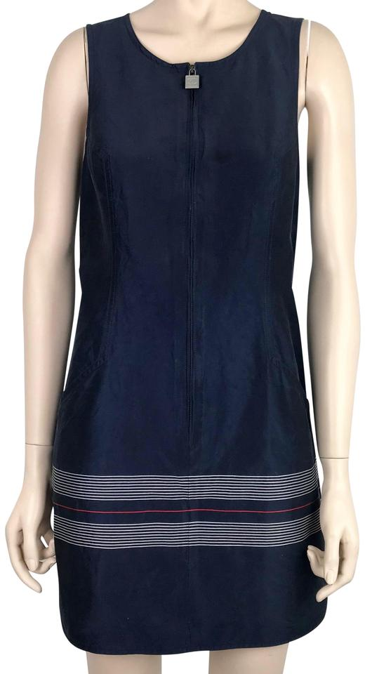 35a0ee6996571a Chanel Navy Blue White Red   Silk   Cotton Sleeveless Tunic Short ...