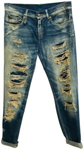 R13 Selvedge Distressed Skinny Relaxed Fit Jeans-Distressed