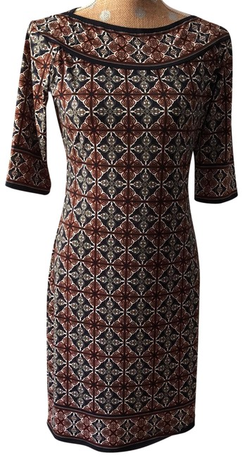 Item - Navy Rust and White Elbow Sleeve Geo-print Mid-length Work/Office Dress Size 8 (M)
