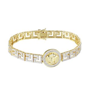 Master Of Bling Medusa Greek Link 14k Gold Tone Hip Hop Simulated Diamond Bracelet