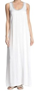 White Grey Maxi Dress by James Perse Super Silky Fabric Contrast Trim Versatile + Timeless Racerback Breathable + Cool