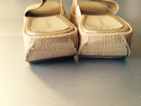 Nine West Slide Mules Sandal Natural Fiber Stretch Insert Straw Platforms