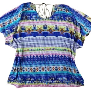 Derek Heart Tie Back Batwing Boho Casual Top Blue, Purple