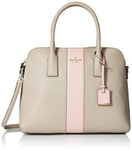 Kate Spade Margot Racing Stripe Clocktower/Rose Crosshatched Leather Satchel in Clocktower/Rose