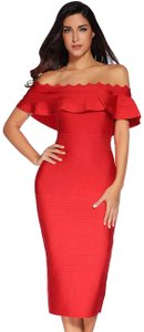 DIOR BELLA Bandage Midi Bodycon Off Shoulder Dress