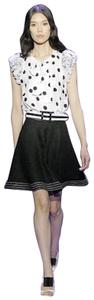 Andrew Gn Runway Embroidered Full Flare Mini Mini Skirt Black & White