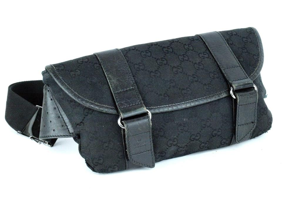 76f65e9a225c Gucci Black Large G Logo Print Canvas and Black Leather with A Heavy ...